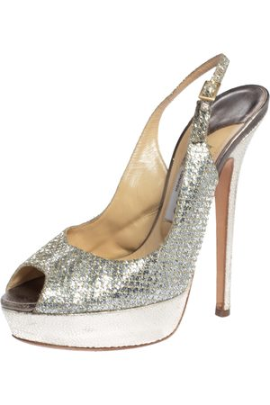 Jimmy Choo Metallic Gold Glitter Fabric And Embossed Leather Verity Peep Toe Platform Slingback Sandals Size 39