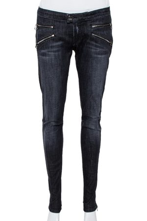Balmain Black Denim Skinny Biker Jeans L