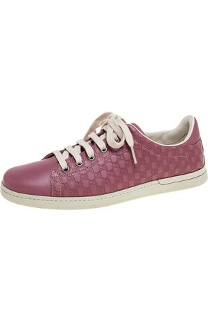 Gucci Pink Micro ssima Leather Low Top Sneakers Size 37.5