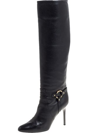Jimmy Choo Black Leather Knee Length Pointed Toe Boots Size 38.5