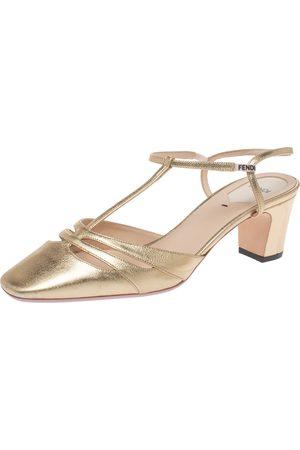 Fendi Metallic Gold Leather T Strap Block Heel Sandals Size 39.5