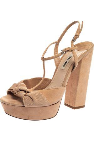 Miu Miu Beige Suede Leather T Strap Platform Block Heel Sandals Size 38.5