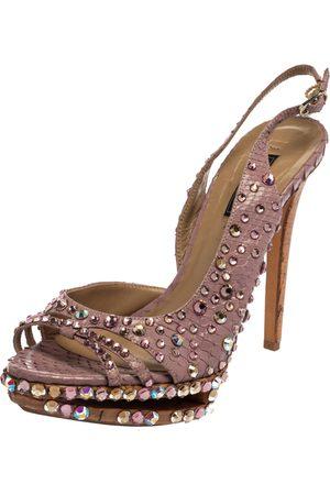 LE SILLA Purple Crystal Embellished Leather Peep Toe Platform Sandals Size 38