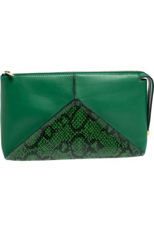 Stella McCartney Green Python Effect and Faux Leather Cavendish Clutch