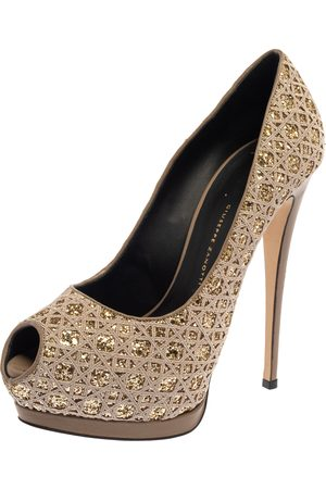 Giuseppe Zanotti Grey Glitter And Fabric Platform Peep Toe Pumps Size 39