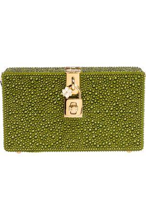 Dolce & Gabbana Green Crystal Embellished Satin Box Bag