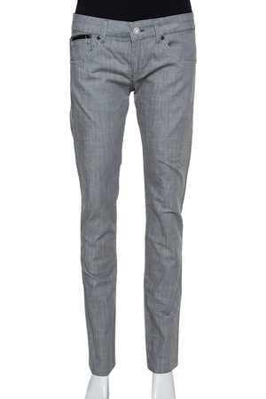 Emporio Armani Grey Cotton 5 Pocket Detail Tapered Leg Trousers L