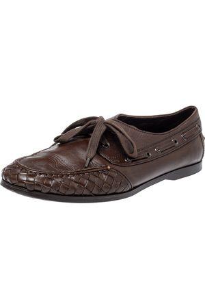 Bottega Veneta Brown Intrecciato Leather Driving Loafer Size 42