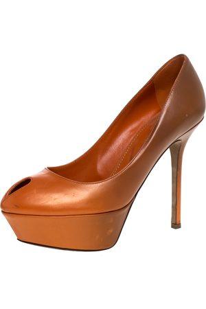 Sergio Rossi Orange/Brown Leather Peep Toe Platform Pumps Size 35