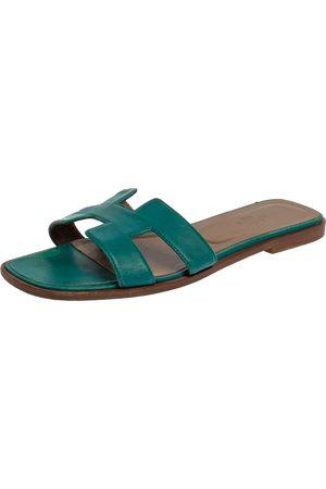Hermès Teal Green Leather Oran Flat Slides Size 38.5