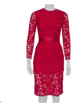 CH Carolina Herrera Fuchsia Pink Lace Belted Sheath Dress XS