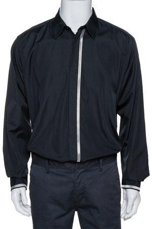 Hermès Black Cotton Stripe Detail Long Sleeve Shirt XXL