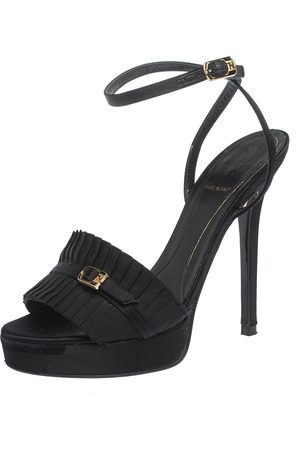 Fendi Black Satin Pleated Detail And FF Logo Buckle Ankle Strap Platform Sandals Size 35