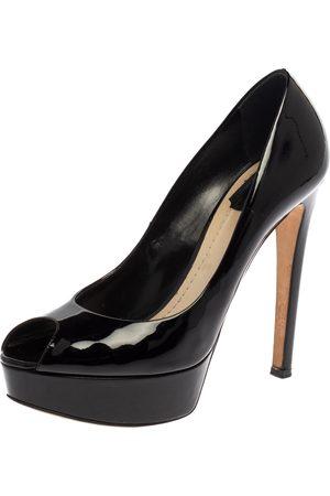 Dior Black Patent Leather Platform Peep Toe Pumps Size 39