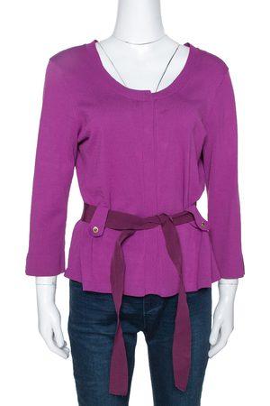 CH Carolina Herrera Fuschia Stretch Knit Belted Cardigan L
