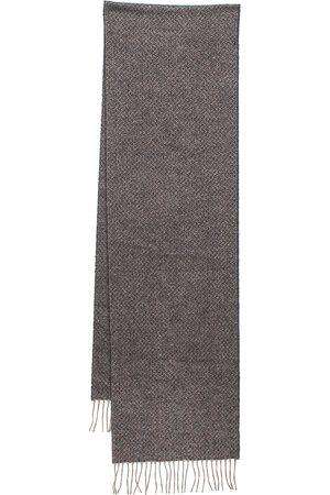 CHANEL Grey Lurex Cashmere Knit Fringed Muffler