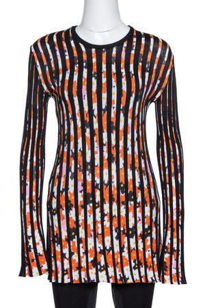 Kenzo Black Jackie Flowers Print Knit Pleated Long Sleeve Top XS