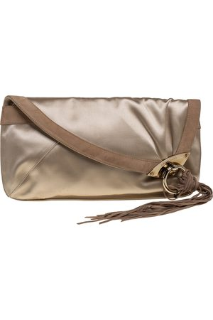 Jimmy Choo Beige Satin and Suede Carissa Clutch
