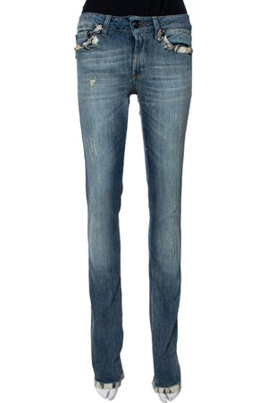 Roberto Cavalli Light Wash Denim Lace Trim Detail Straight Fit Jeans S