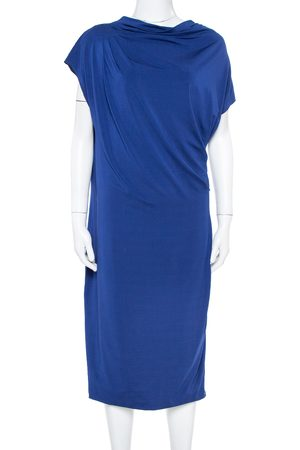 Max Mara Royal Blue Draped Jersey Asymmetric Midi Dress L
