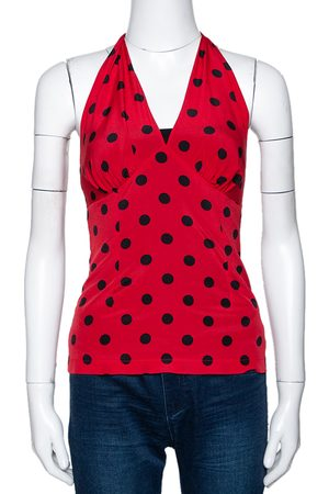 Dolce & Gabbana Red Polka Dot Stretch Silk Halter Neck Top S