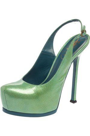 Saint Laurent Saint Laurent Mint Patent Leather Tribtoo Platform Slingback Sandals Size 39