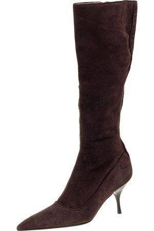 Prada Brown Suede Knee Boots Size 38