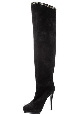 LE SILLA Black Nubuck Crystal Embellished Platform Knee High Boots Size 38