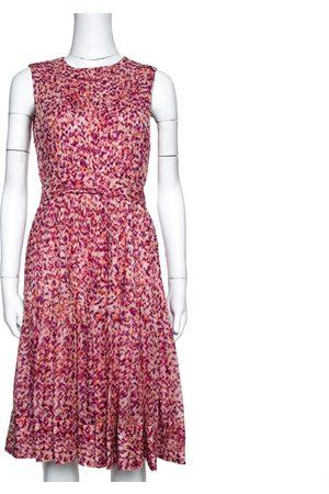 CH Carolina Herrera Fuschia & Orange Abstract Printed Silk Pleated Dress S