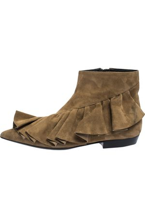 J.W.Anderson Brown Suede Leather Frill Detail Ankle Boots Size 36