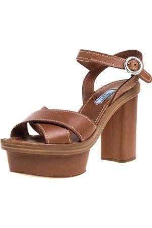 Prada Brown Leather Crisscross Ankle Strap Platform Sandals Size 39.5
