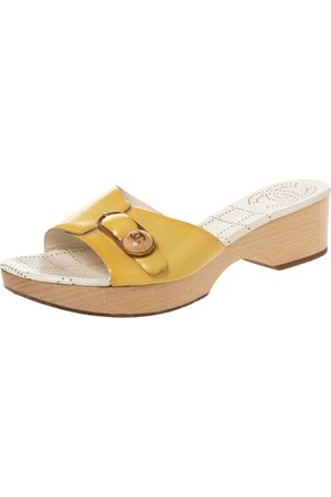 CHANEL Yellow Patent Leather CC Buckle Detail Wooden Clog Slides Size 40
