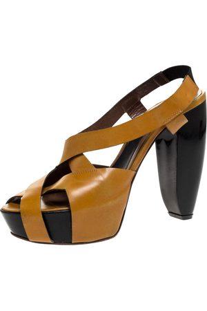 Marni Tan Leather Strappy Platform Block Heel Slingback Sandals Size 40