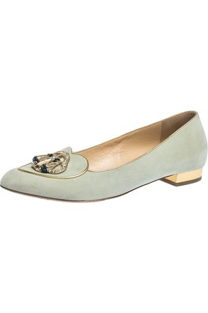 Charlotte Olympia Lime Green Suede Gemini Smoking Slippers Size 41