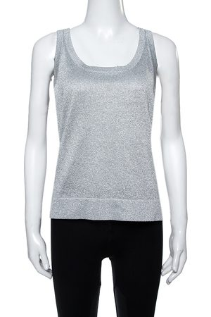 Missoni Shimmery Silver Lurex Knit Tank Top L