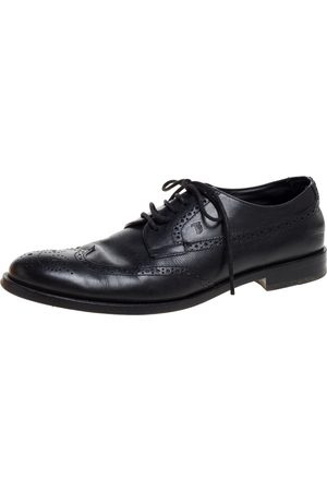Tod's Black Brogue Leather Lace Up Derby Size 42.5