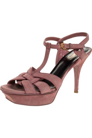 Saint Laurent Pink Suede Tribute Platform Sandals Size 40