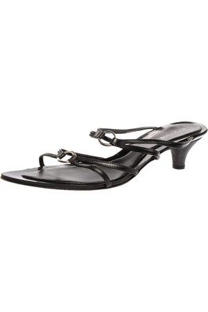 Sergio Rossi Black Leather Strappy Kitten Heel Sandals Size 41
