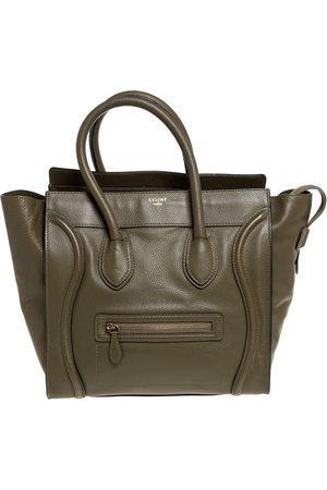 Céline Olive Green Leather Mini Luggage Tote