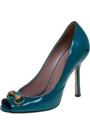 Gucci Blue Patent Leather Jolene Horsebit Peep Toe Pumps Size 36
