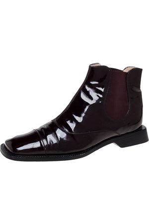CHANEL Burgundy Patent Leather Elastic Ankle Boots Size 37.5