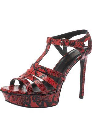 Saint Laurent Red/Black Embossed Python Leather Tribute Platform Sandals Size 38