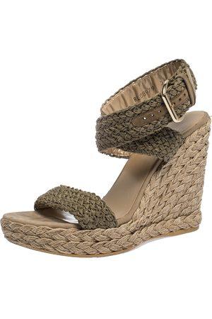 Stuart Weitzman Khaki Woven Fabric Espadrille Wedge Sandals Size 39