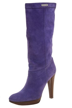 Casadei Purple Suede Platform Midcalf Boots Size 38.5
