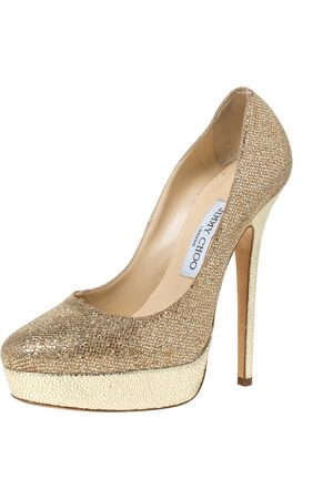 Jimmy Choo Gold Glitter Fabric And Embossed Leather Eros Platform Pumps Size 38