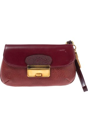 Dolce & Gabbana Burgundy Leather Wristlet Clutch