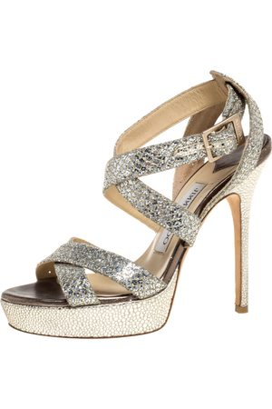 Jimmy Choo Gold/Silver Glitter Vamp Platform Strappy Sandals Size 36