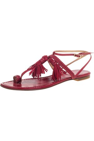 Stuart Weitzman Red Leather And Suede Tassel Thong Flat Sandals Size 39.5