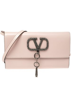 VALENTINO Rose Quartz Leather VCASE With Swarovski Crystals Clutch Bag