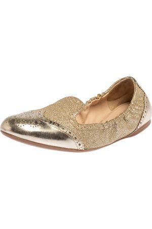 Prada Gold Glitter Fabric And Patent Leather Brogue Scrunch Ballet Flats Size 37.5